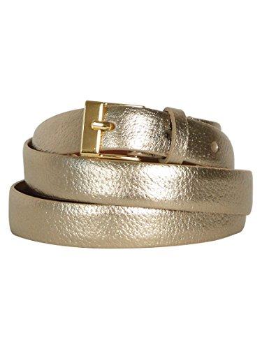 Lauren Ralph Lauren Women's Tumbled Leather Hinged Pant Belt in Gold - Large