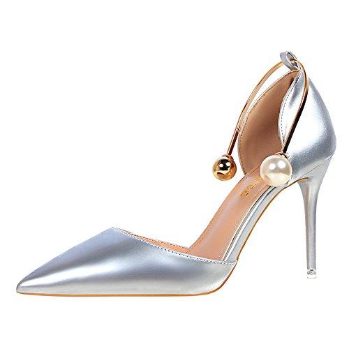 z&dw Mostrar fino fina con tacones altos boca de charol hueco puntiagudo con sandalias plata