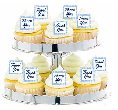 CakeSupplyShop Item#24341 Thank you Blue Cupcake / Food / Appetizer Decoration Topper Picks -12ct