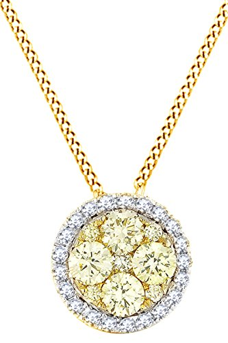 Round Yellow & White Natural Diamond Circle Pendant Necklace 14k Solid Yellow Gold (0.46 Cttw)