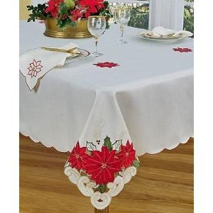 (Homewear Poinsettia Trio Tablecloth Ivory Satin)