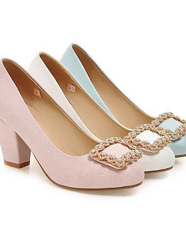 GGX/Damen Schuhe PU Sommer-/, Round Toe Heels Büro & Karriere/Casual geschoben Ferse Sparkling glitzer blau/pink/weiß pink-us9 / eu40 / uk7 / cn41