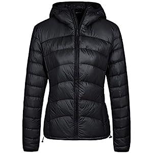 Wantdo Women's Packable Lightweight Warm Chevron Down Jacket with Hood Black Medium