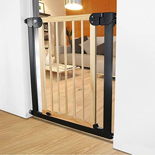 Baby Gates Extra Wide & Tall Baby Gates for Stair Banisters Doorway, Pressure Mount Metal & Wood Dog Gate with Cat Door, 76-153cm Wide (Size : 125-132cm)