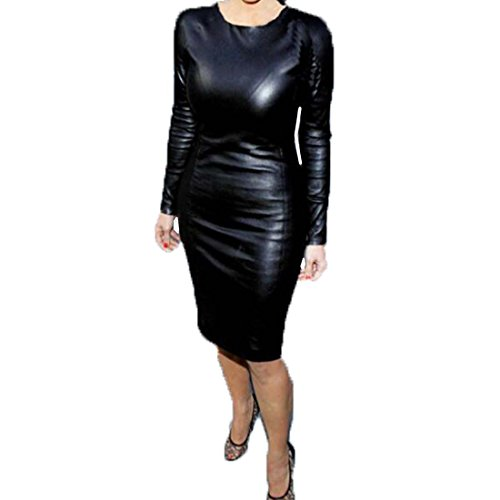 Buy faux leather halter dress - 8