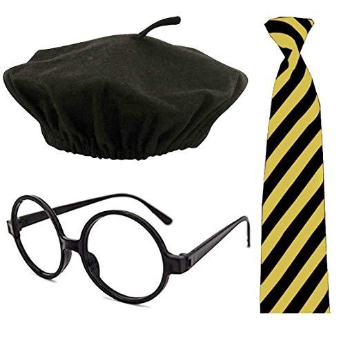 Adults Nerd Glasses Beret Hat Black/Yellow Striped Neck Tie Womens Set Naughty School Girl Nerd Dress Costume One Size -