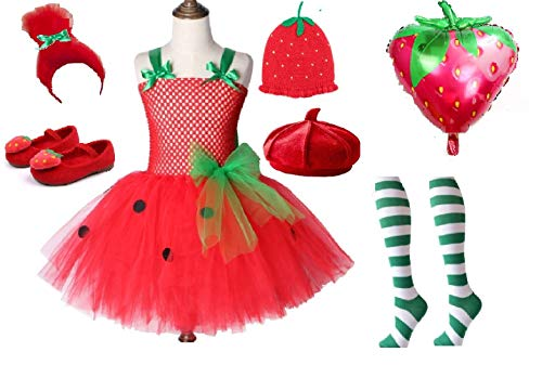 Strawberry Short Cream Cake Costume Tutu Dress from Chunks of Charm (Red Berry Shoe 10) for $<!--$22.50-->