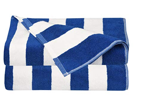 Glamburg 2 Pack Cabana Stripe Beach Pool Bath Towel Set 30X60, 100% Ringspun Cotton Towels,Large Oversized Beach Towels,Beach Blanket,Highly Absorbent Large Bath Towel - Cobalt Blue (Bathroom Cobalt Blue)