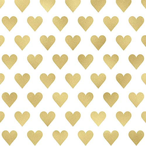 - Printed Tissue Paper for Gift Wrapping with Design (Gold Hearts, Style #2) - 24 Large Sheets (20x30)