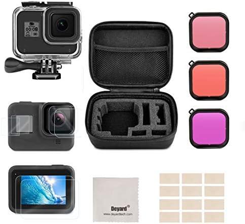 Deyard Kit de Accesorios para GoPro Hero 8 Black con Funda a Prueba de Golpes + Funda a Prueba de Agua + Protector de Pantalla de Vidrio Templado para GoPro Hero 8