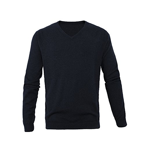 L.Roiine Mens Casual Slim Fit Long Sleeve Pullover Cotton Cashmere Solid V Neck Navy Blue Knit Sweater(L, Navy Blue)