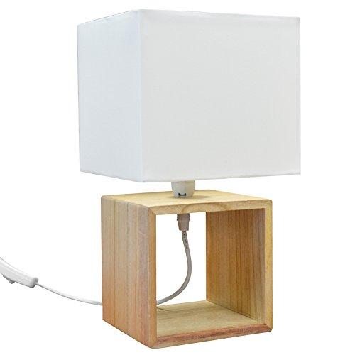 Lampada da Tavolo Lume da Comodino Design Moderno con Base in Legno e  Campana in Tessuto Bianco Abat-jour 33x18cm Lampadina E 14