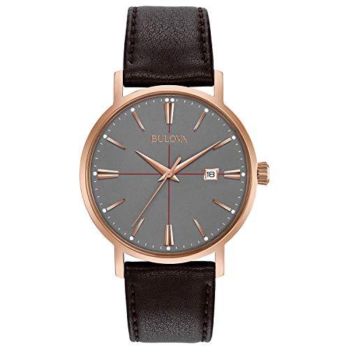 Bulova Men's Quartz Stainless Steel and Leather Dress Watch, Color: Brown (Model: - Mens Watch Dress Bulova