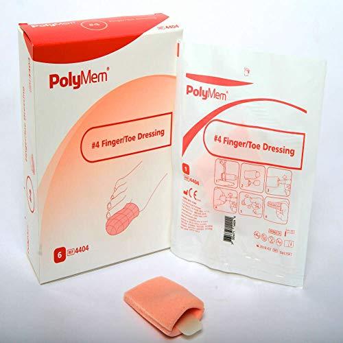 PolyMem Finger/Toe Wound Dressing, Sterile, Foam, 4 XL; CIR 3.0-3.4 Inch, 4404 (Box of 6)