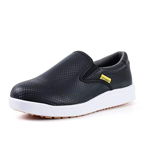 DDTX Kitchen SRC Anti-Skid Work Shoes for Men Breathable Acid and Alkali Resistant Slip-on Chef Shoes Black(7.5) (Best Shoes For Kitchen Work)