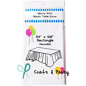 (12 Pack) Heavy Duty Plastic Table Covers Tablecloth (Reusable) (Rectangle