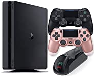 Playstation 4 Slim 1TB Console with Black and Rose Gold Wireless Controller and Mytrix DS4 Fast Charging Dock