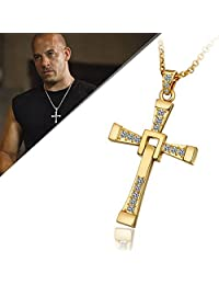 CS-DB 18K Real Gold 18K Yellow Gold Plated CROSS with Swarovski Crystal Pendant Necklace Women men Fast and Furious Cross Pendent