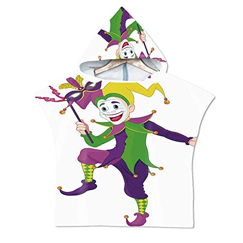 Mardi Gras Soft Hooded Beach Bath Towel,Cartoon Style Jester in Iconic Costume with Mask Happy Dancing Party Figure for Teenagers & Children,29.5''W x 43.3''H -