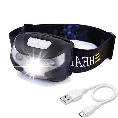HFAN USB Rechargeable LED Headlamp, Headlight 1X White, 2X Red Super Bright, Waterproof, Lightweight Headlamps with SOS for Running, Walking, Camping, Reading, Hiking, Outdoor Sports etc by HFAN