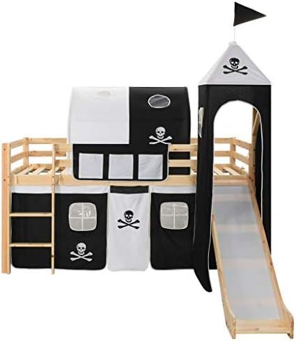 mewmewcat - Litera para niños, tobogán y Escalera de Pino 97 x 208 cm, Color Negro y Blanco: Amazon.es: Hogar