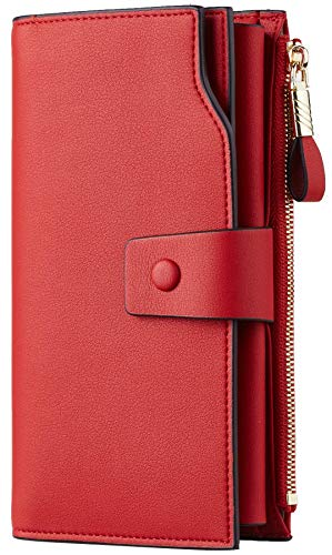 Travelambo Womens RFID Blocking Large Capacity Luxury Waxed Genuine Leather Clutch Wallet Multi Card Organizer (ReNapa Red Classic)