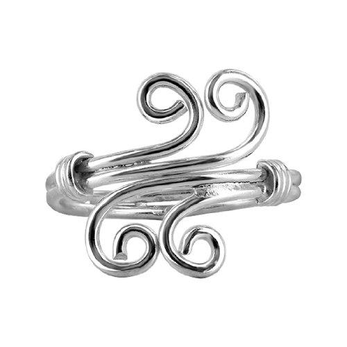Gem Avenue 925 Sterling Silver Four Swirls Toerings