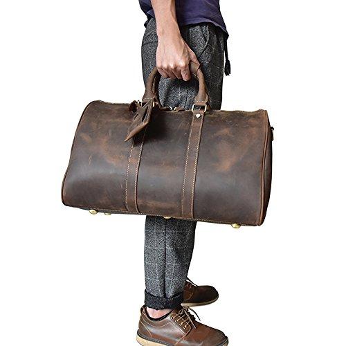 Mefly Bolsa De Viaje Bolsa De Equipaje De Mano El Equipaje De Mano Del Hombre Bolso Marrón Claro Dark brown