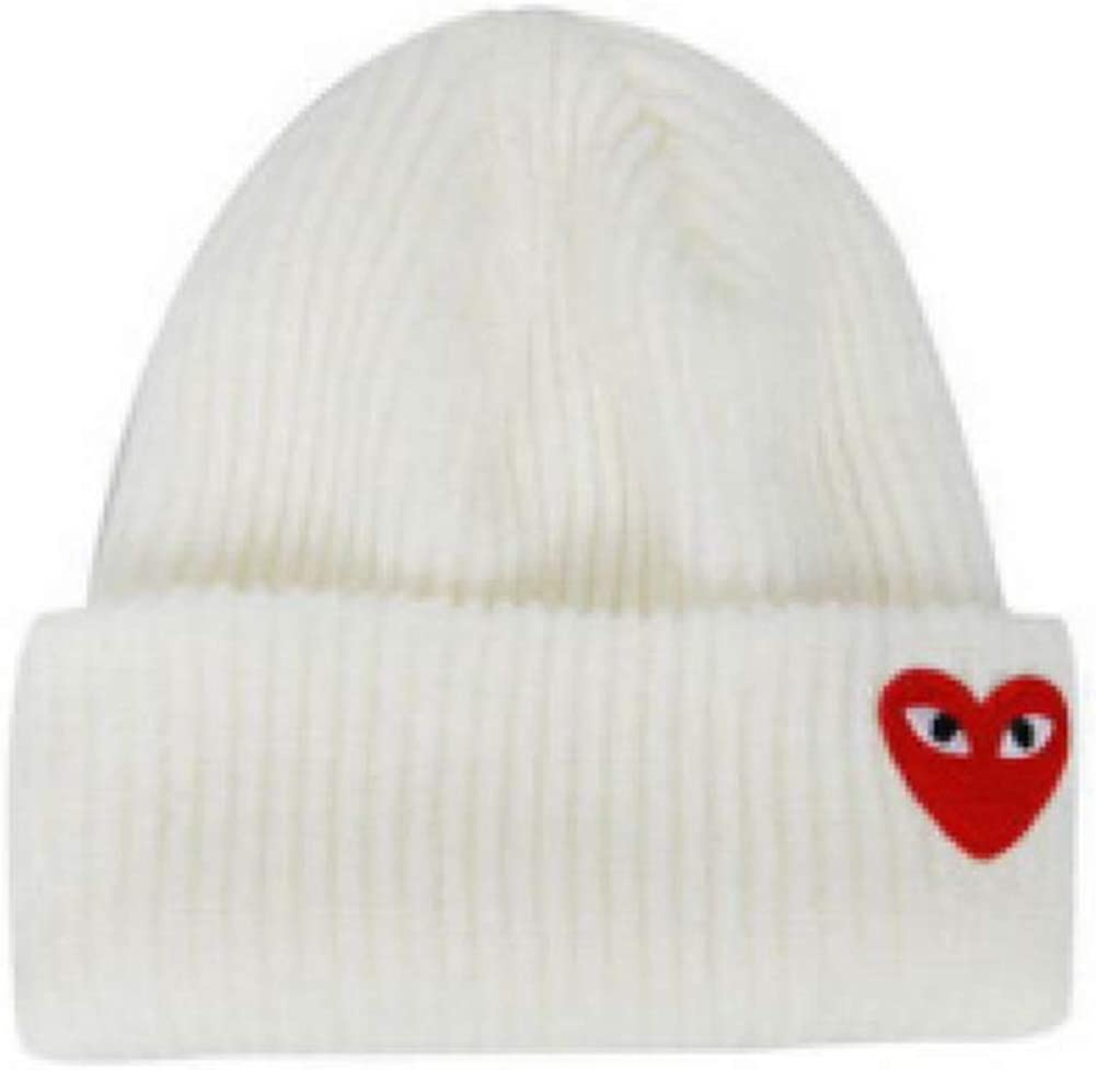 catchon Love Pattern Knitted hat Wild Couple Embroidered Warm hat Wool White