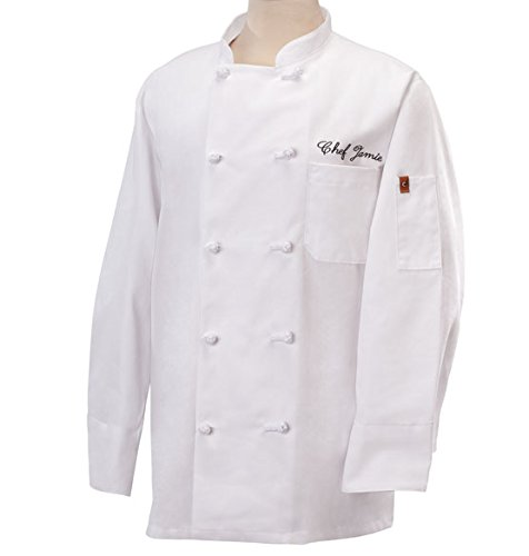Personalized Professional Style Chef Jacket - For The Gourmet Cook In Your Life - Wonderful Gift - Black or White (White, (Professional Chef Coat)