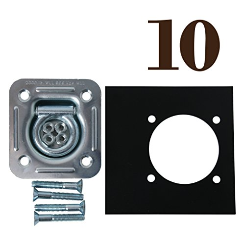 DC Cargo Mall 10-Pack Square Tie-Down D Ring Trailer Cargo Tiedown Anchor w/ Mounting Lock Plate & Installation Tie Down Hardware Accessories, Flush Mount Bolts, Keps Lockwasher Nuts, Flat - 10 Mall Square