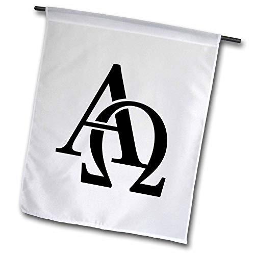 3dRose EvaDane - Signs - Alpha Omega - 12 x 18 inch Garden Flag (fl_157419_1)