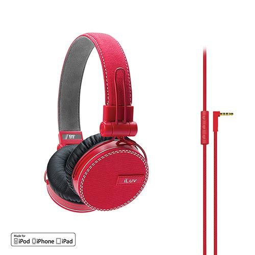 ReF by iLuv - Canvas Fabric Exterior On-Ear Headphones with Incredibly Deep Bass - Perfect match to Fashionable Outfits and Loud Bass Music such as EDM, Hip Hop, Rap, Rock & Roll - Compatible with Apple iPad, iPhone & iPod (Red)
