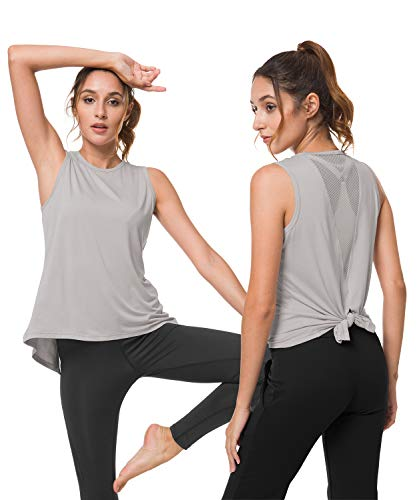 Balleay Art Tank Tops for Women Grey Yoga Shirts Cute Female Activewear Mesh Sexy Open Back Workout Sportswear Size XL