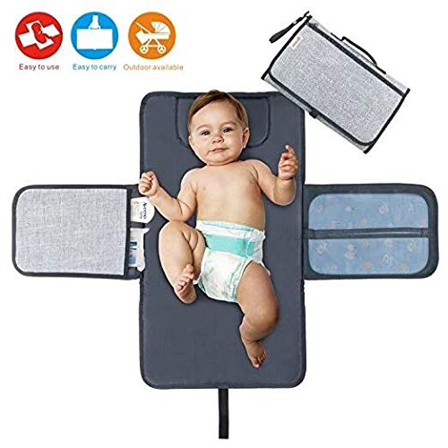 Baby Portable Changing Station Diaper Change Mat with Head Cushion Lightweight Travel Home Diaper Changer Mat with Pockets - Waterproof and Foldable by Idefair (TM) ()