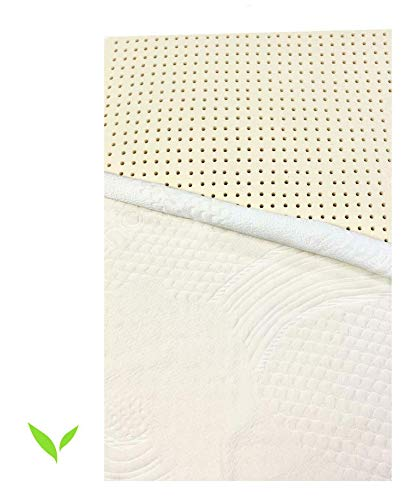Pure Organic Latex Mattress Topper Queen Size 2 Inch Medium Firm [GOLS Certified], Covered in Strong Premium Organic Cotton, Superior Pressure Relieving, Made in USA