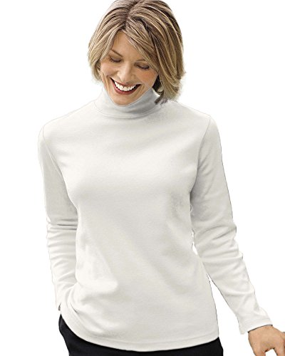 Interlock Turtleneck Mock Ladies (UltraSofts Mock Turtleneck, Ivory, Large)