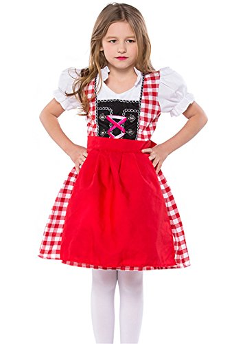 Bavarian Girl Costume,German Bavarian Children Dirndl Dress for Oktoberfest Halloween Carnival, Cosplay,Christmas (L, red)