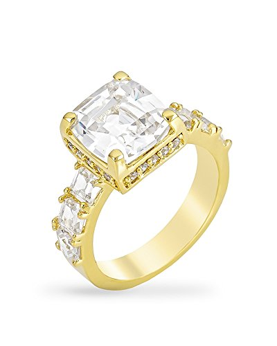 18k Gold Plated Ring with a Asscher Cut Clear Cubic Zirconia Center Stone and Clear Cubic Zirconia Size 7