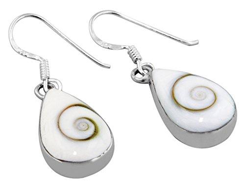 Sterling Silver and Eye of Shiva Shell Teardrop Dangle Earrings