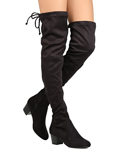 Breckelles GK89 Women Faux Suede Thigh High Drawstring Chunky Heel Boot Black WuMrte4T