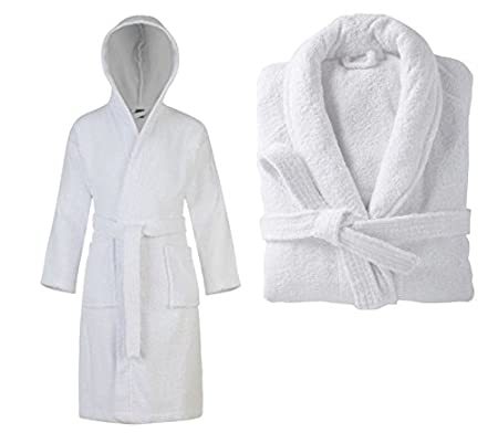 Mens and Ladies Towelling Robe 100% Egyptian Cotton Terry Towel Hooded Shawl  Collar Bathrobe Dressing 6171d04b1