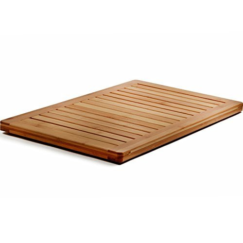 Finish 5 Piece Natural Tile (Bamboo Bath Mat Shower Floor Mat Non Slip, Made of 100% Natural Bamboo, By Bambusi)