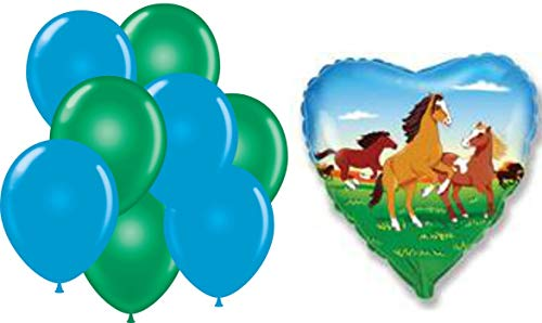 (Heart Horse Green and Blue Balloons for Kids - 9-Pack 1-Heart Horse and 6 Blue and Green 12inch Balloons Set for Birthday Party - Premium Quality Foil - Reusable - Vivid Colors and Funny Animal)