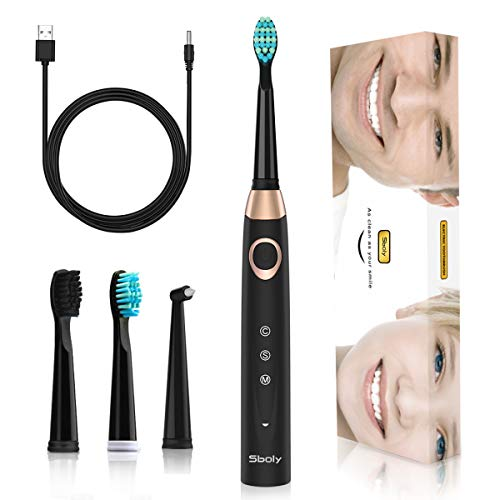 Sonic Electric Toothbrush, Sboly Powered Toothbrush with 2 Replacement Brush Heads, USB Rechargable 4 Hours Fast Charge 30 Days Use, 2 Minute Smart Timer Waterproof Black