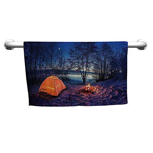 Hand Towel Apartment Decor,Dark Night Camping Tent Photo in Winter on Snow Covered Lands by The Lake,Blue Orange,Bra Towel for Women
