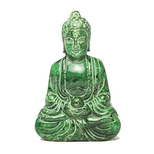 EASTCODE Chinese Handwork Carving Buddha Old Green Jade Statue