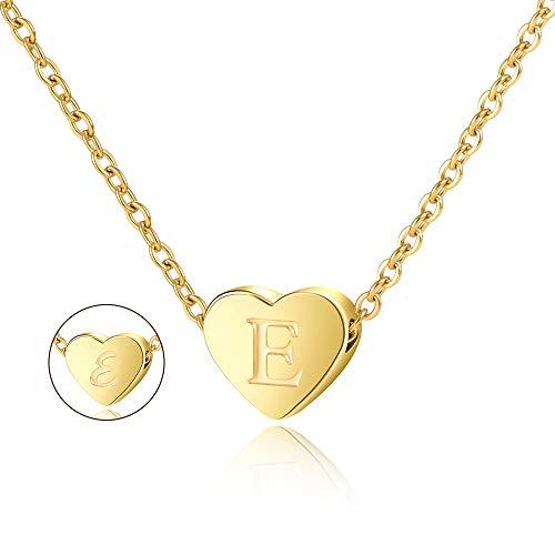 Lanqueen Initial Gold E Necklace Pendant Stainless Steel Heart Double Side Engraved Charm Necklace 18'' Adjustable Personalized Alphabet Letter Pendant E