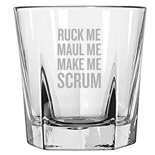 (Funny Rugby Rocks Glass - Rugby Player Gift Idea - Ruck Me, Maul Me, Make Me Scrum - Whiskey Tumbler)