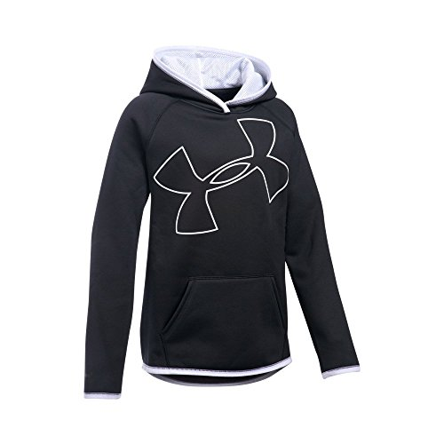 Jumbo Logo Hoody Sweatshirt - Under Armour Girls' Armour Fleece Jumbo Logo Hoodie, Black (001)/White, Youth Large